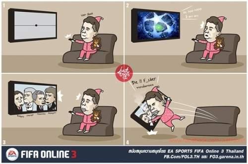 Луи Ван Гал смотрит телевизор