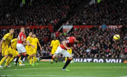 Juan Mata heads in United's second goal on the far post but was offside when Robin van Persie go the decisive flick-on