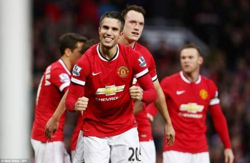 Van Persie celebrates United's third goal that put the game to bed