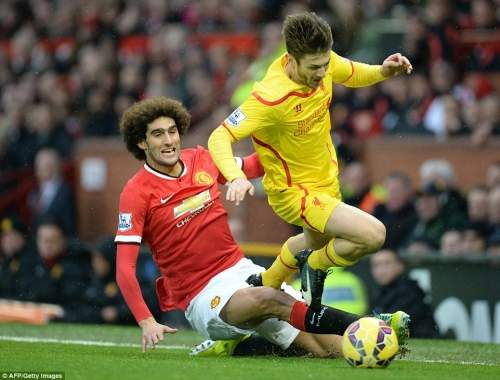 One way or the other Lallana wasn't getting by Fellaini, who makes a late sliding tackle for the first yellow card of the match
